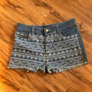 High-Waisted Aztec Forever 21 Jean Shorts